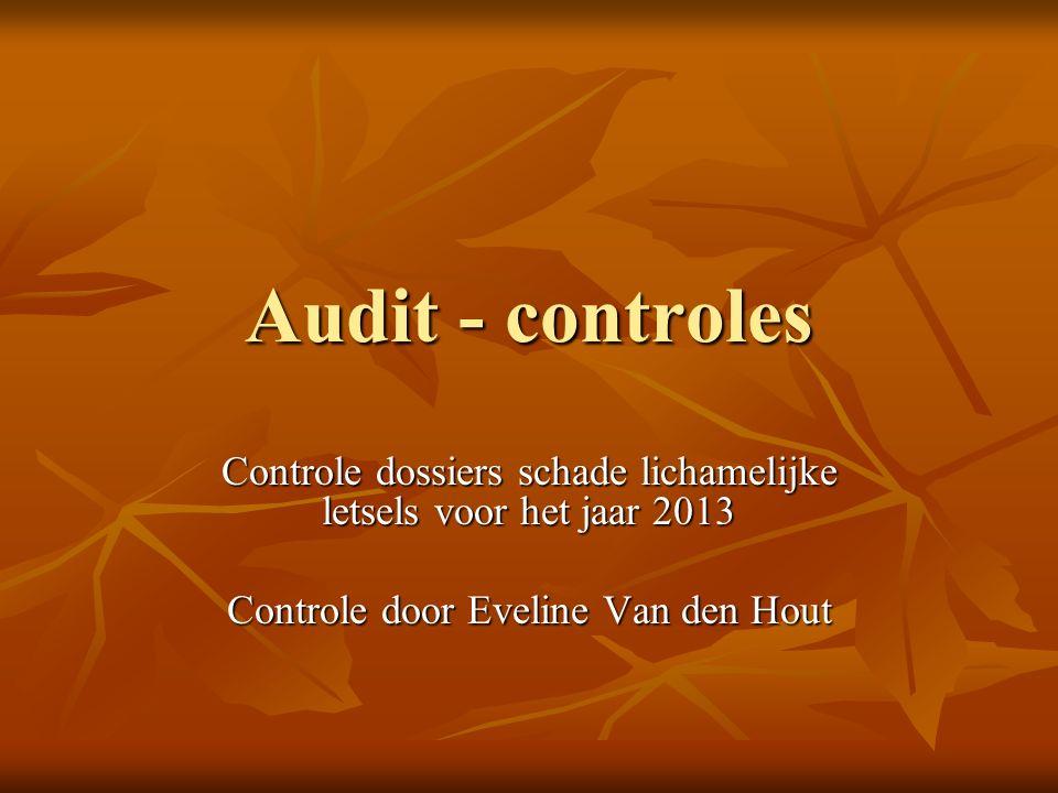 Audit - controles Controle dossiers schade lichamelijke letsels voor het jaar 2013 Controle door Eveline Van den Hout