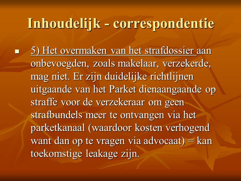 Inhoudelijk - correspondentie 5) Het overmaken van het strafdossier aan onbevoegden, zoals makelaar, verzekerde, mag niet.