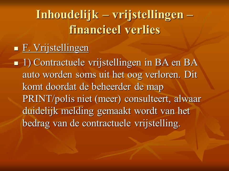 Inhoudelijk – vrijstellingen – financieel verlies F.