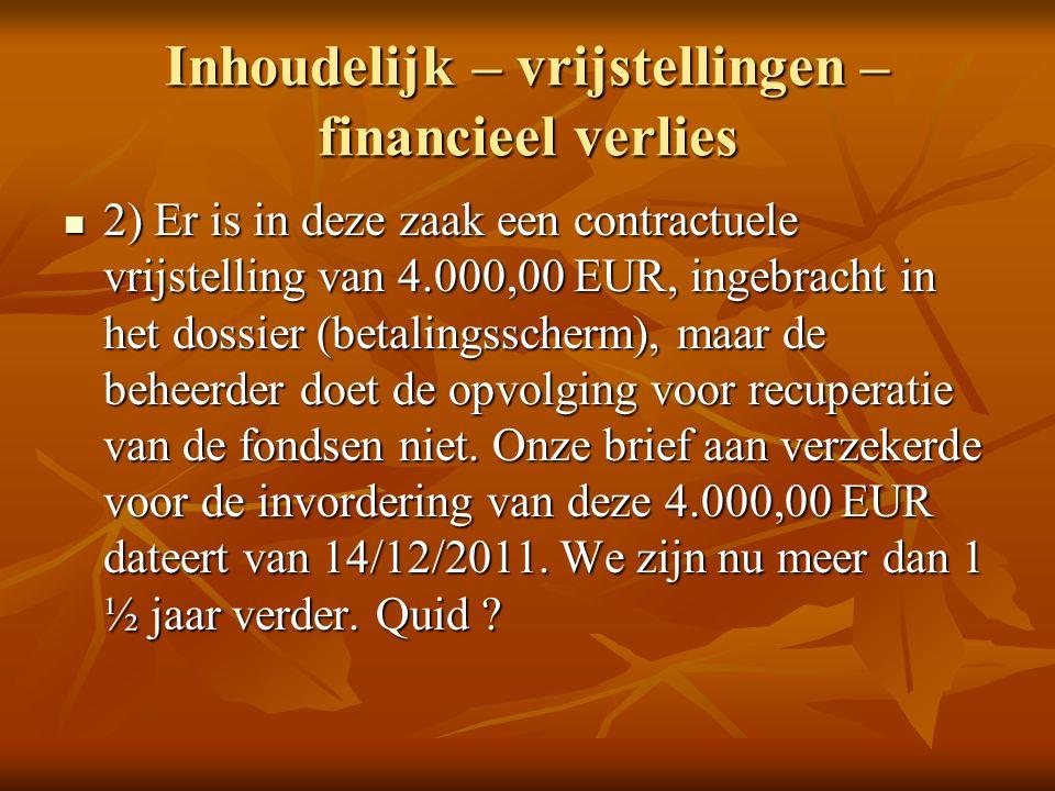 Inhoudelijk – vrijstellingen – financieel verlies 2) Er is in deze zaak een contractuele vrijstelling van 4.000,00 EUR, ingebracht in het dossier (betalingsscherm), maar de beheerder doet de opvolging voor recuperatie van de fondsen niet.