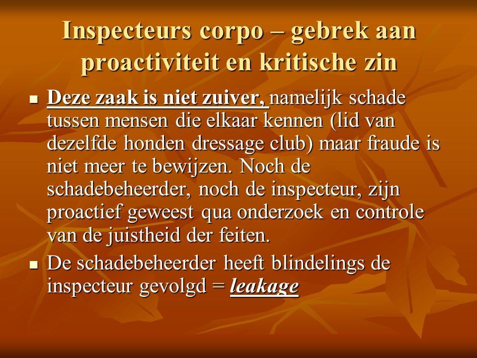 Inspecteurs corpo – gebrek aan proactiviteit en kritische zin Deze zaak is niet zuiver, namelijk schade tussen mensen die elkaar kennen (lid van dezelfde honden dressage club) maar fraude is niet meer te bewijzen.