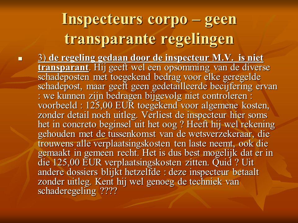 Inspecteurs corpo – geen transparante regelingen 3) de regeling gedaan door de inspecteur M.V.