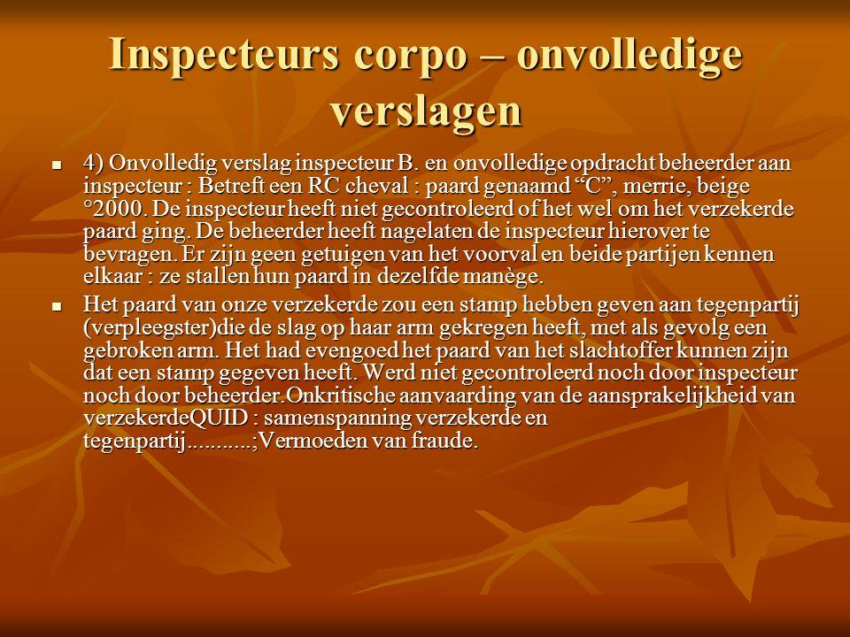 Inspecteurs corpo – onvolledige verslagen 4) Onvolledig verslag inspecteur B.