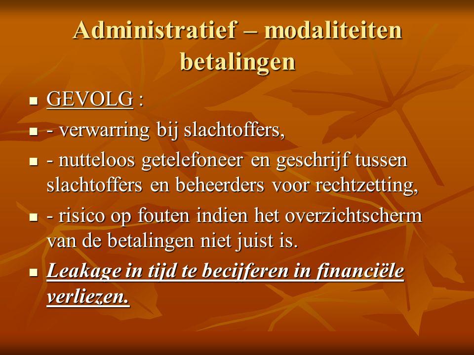 Administratief – modaliteiten betalingen GEVOLG : GEVOLG : - verwarring bij slachtoffers, - verwarring bij slachtoffers, - nutteloos getelefoneer en geschrijf tussen slachtoffers en beheerders voor rechtzetting, - nutteloos getelefoneer en geschrijf tussen slachtoffers en beheerders voor rechtzetting, - risico op fouten indien het overzichtscherm van de betalingen niet juist is.