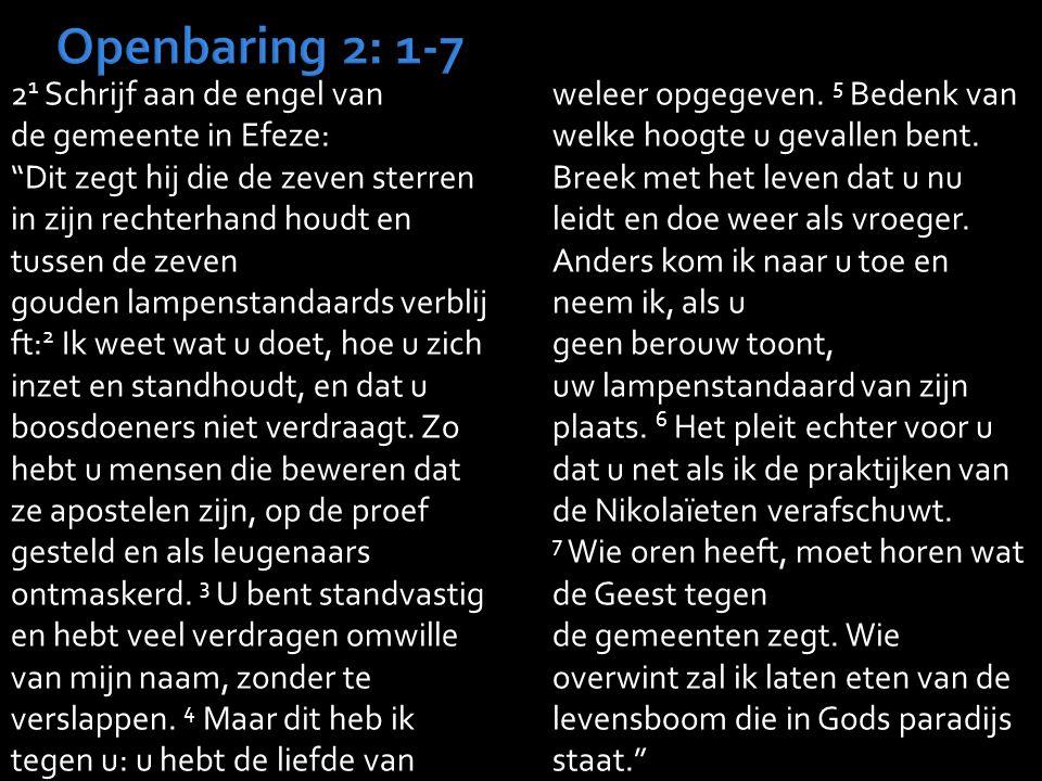 2 1 Schrijf aan de engel van de gemeente in Efeze: Dit zegt hij die de zeven sterren in zijn rechterhand houdt en tussen de zeven gouden lampenstandaards verblij ft: 2 Ik weet wat u doet, hoe u zich inzet en standhoudt, en dat u boosdoeners niet verdraagt.