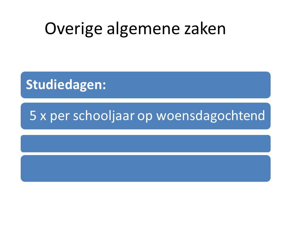 Overige algemene zaken Studiedagen: 5 x per schooljaar op woensdagochtend