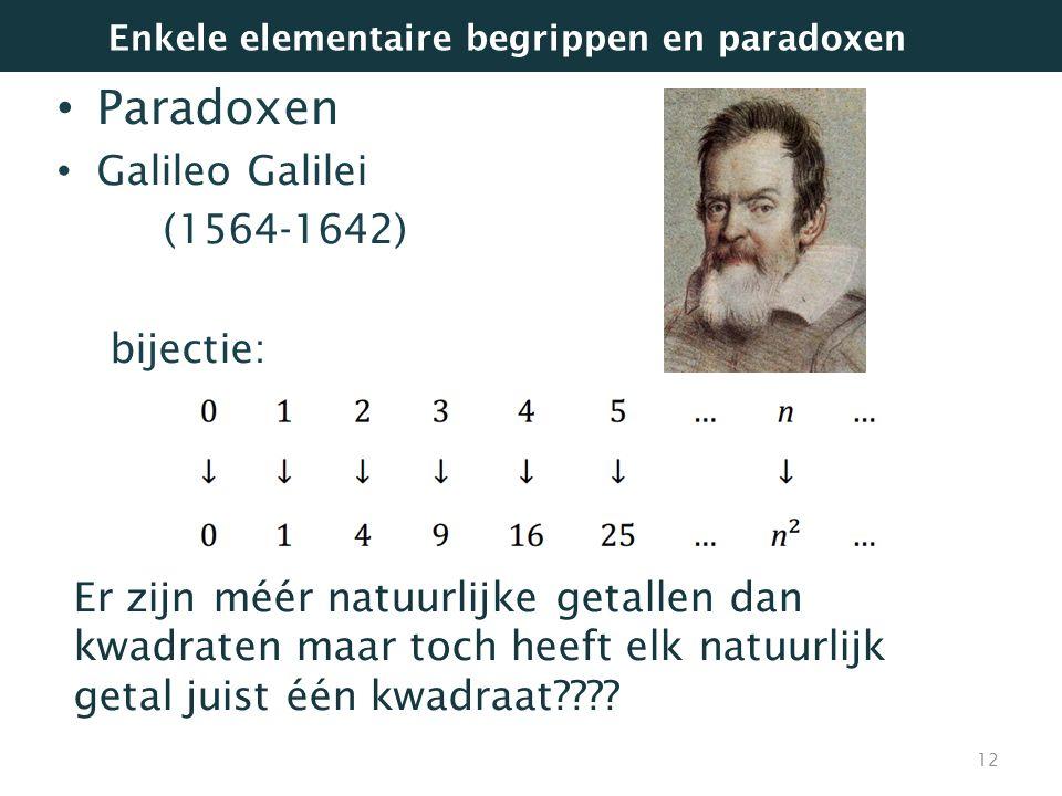 Paradoxen Galileo Galilei (1564-1642) bijectie: Even veel kwadraten als natuurlijke getallen? Natuurlijke getallen die geen kwadraat zijn? 12 Er zijn