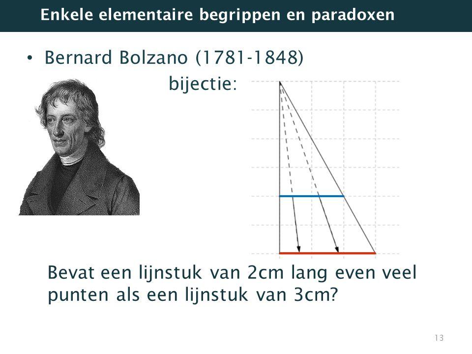 Bernard Bolzano (1781-1848) bijectie: Bevat een lijnstuk van 2cm lang even veel punten als een lijnstuk van 3cm? 13 Enkele elementaire begrippen en pa