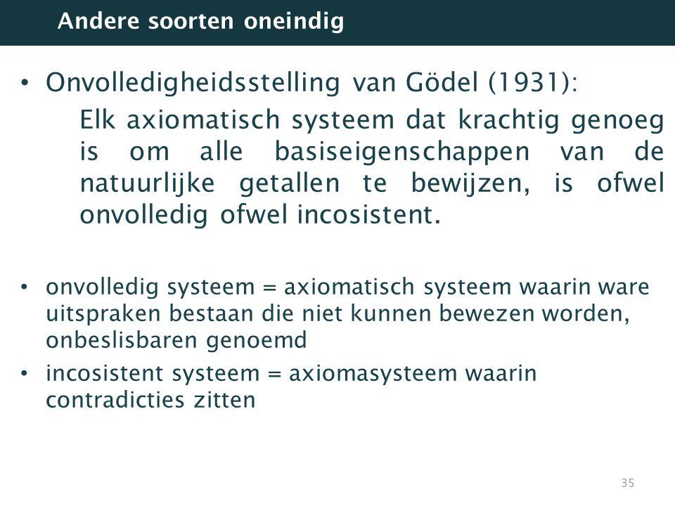 Onvolledigheidsstelling van Gödel (1931): Elk axiomatisch systeem dat krachtig genoeg is om alle basiseigenschappen van de natuurlijke getallen te bew