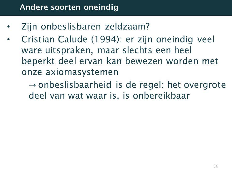 Zijn onbeslisbaren zeldzaam? Cristian Calude (1994): er zijn oneindig veel ware uitspraken, maar slechts een heel beperkt deel ervan kan bewezen worde