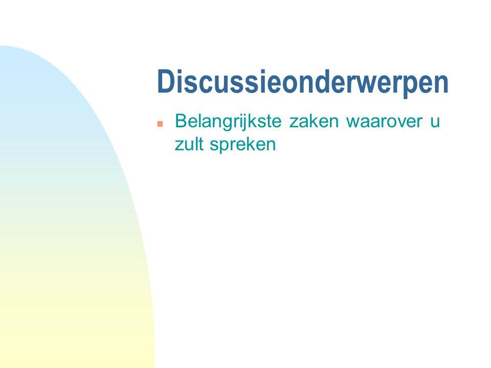 Discussieonderwerpen n Belangrijkste zaken waarover u zult spreken