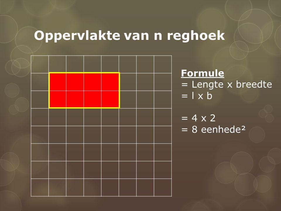 Oppervlakte van n reghoek Formule = Lengte x breedte = l x b = 4 x 2 = 8 eenhede²
