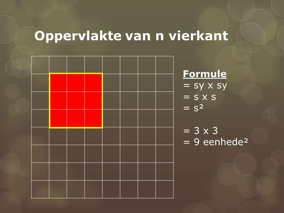 Oppervlakte van n vierkant Formule = sy x sy = s x s = s² = 3 x 3 = 9 eenhede²