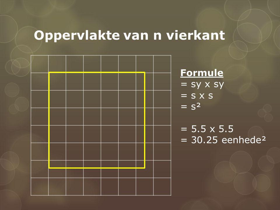 Oppervlakte van n vierkant Formule = sy x sy = s x s = s² = 5.5 x 5.5 = 30.25 eenhede²