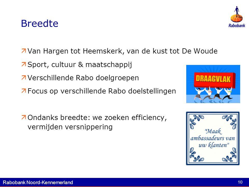 Rabobank Noord-Kennemerland 10 Breedte  Van Hargen tot Heemskerk, van de kust tot De Woude  Sport, cultuur & maatschappij  Verschillende Rabo doelgroepen  Focus op verschillende Rabo doelstellingen  Ondanks breedte: we zoeken efficiency, vermijden versnippering