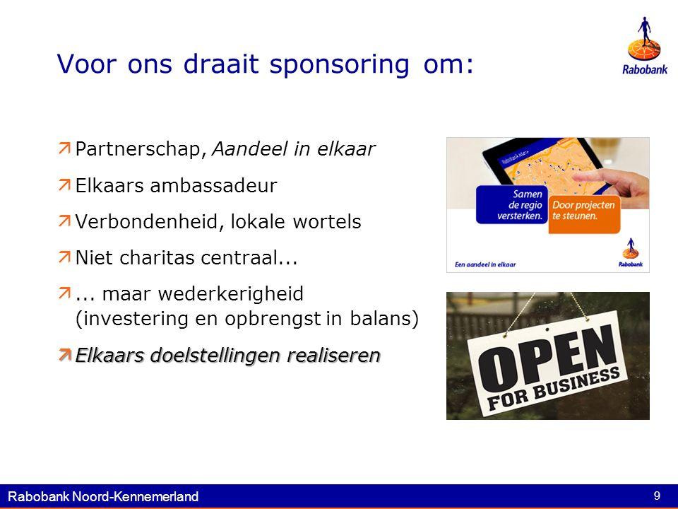 Rabobank Noord-Kennemerland 9 Voor ons draait sponsoring om:  Partnerschap, Aandeel in elkaar  Elkaars ambassadeur  Verbondenheid, lokale wortels  Niet charitas centraal...