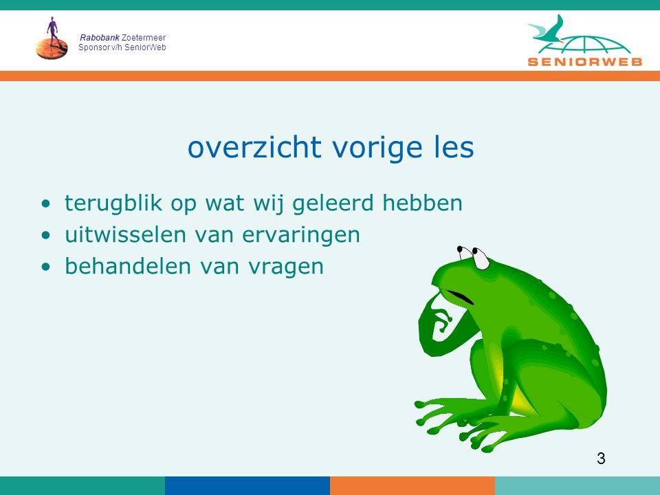 Rabobank Zoetermeer Sponsor v/h SeniorWeb 4 leerdoelen les 4 u kunt een afbeelding corrigeren op kleur, helderheid en contrast u kunt een oude afbeelding repareren m.b.v.