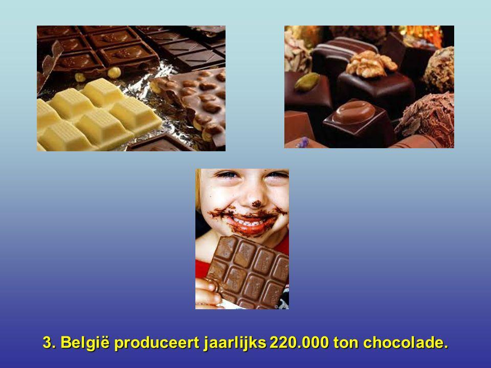 3. België produceert jaarlijks 220.000 ton chocolade.