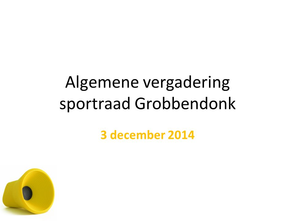 4 prioriteiten sportdecreet Daling van financiën vanuit Vlaamse Overheid: 5% 1.Subsidiebeleid sportverenigingen 2.Professionalisering jeugdsportbegeleiding 3.Sportparticipatie via laagdrempelig aanbod 4.Sportbeleid voor kansengroepen 1 en 2 gebeuren op basis van subsidiereglement