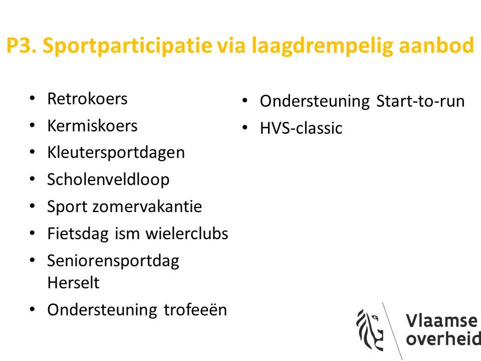 P3. Sportparticipatie via laagdrempelig aanbod Retrokoers Kermiskoers Kleutersportdagen Scholenveldloop Sport zomervakantie Fietsdag ism wielerclubs S