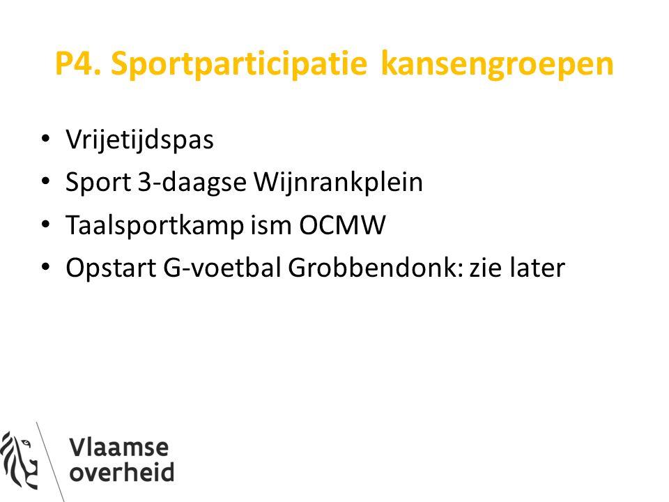 P4. Sportparticipatie kansengroepen Vrijetijdspas Sport 3-daagse Wijnrankplein Taalsportkamp ism OCMW Opstart G-voetbal Grobbendonk: zie later