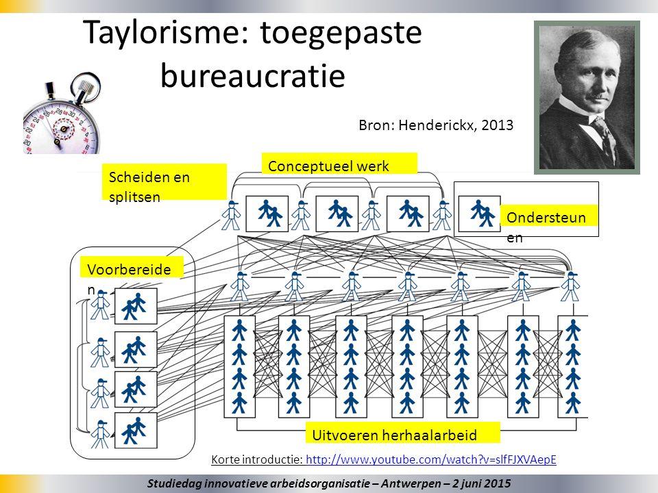 Taylorisme: toegepaste bureaucratie Korte introductie: http://www.youtube.com/watch?v=slfFJXVAepEhttp://www.youtube.com/watch?v=slfFJXVAepE Ondersteun