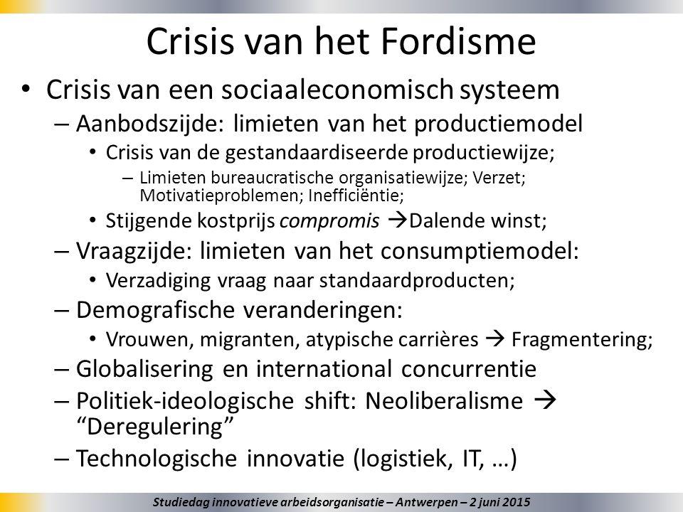 Crisis van het Fordisme Crisis van een sociaaleconomisch systeem – Aanbodszijde: limieten van het productiemodel Crisis van de gestandaardiseerde prod