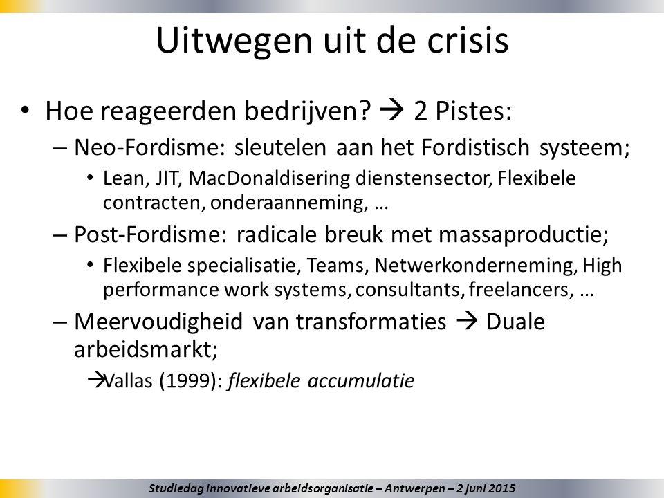 Uitwegen uit de crisis Hoe reageerden bedrijven?  2 Pistes: – Neo-Fordisme: sleutelen aan het Fordistisch systeem; Lean, JIT, MacDonaldisering dienst