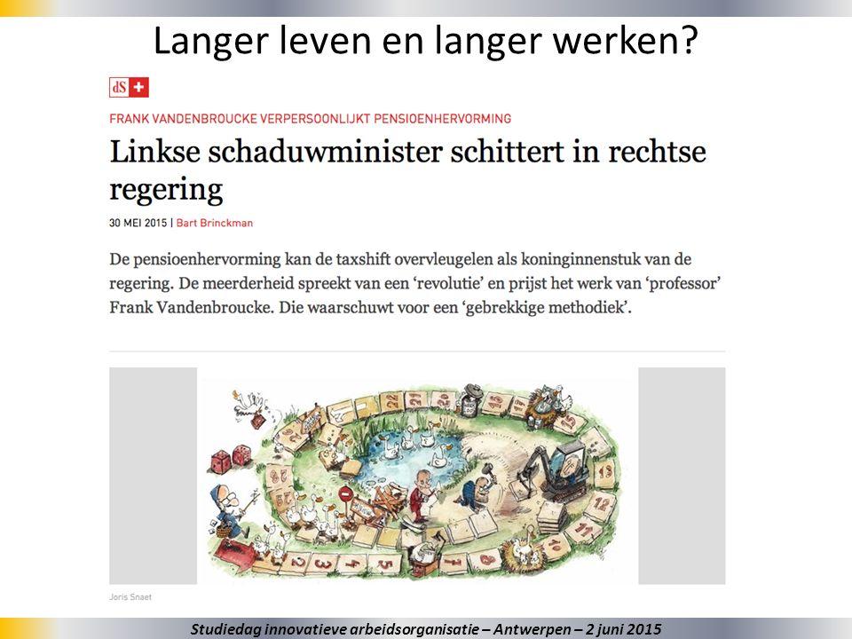 3 Langer leven en langer werken? Studiedag innovatieve arbeidsorganisatie – Antwerpen – 2 juni 2015