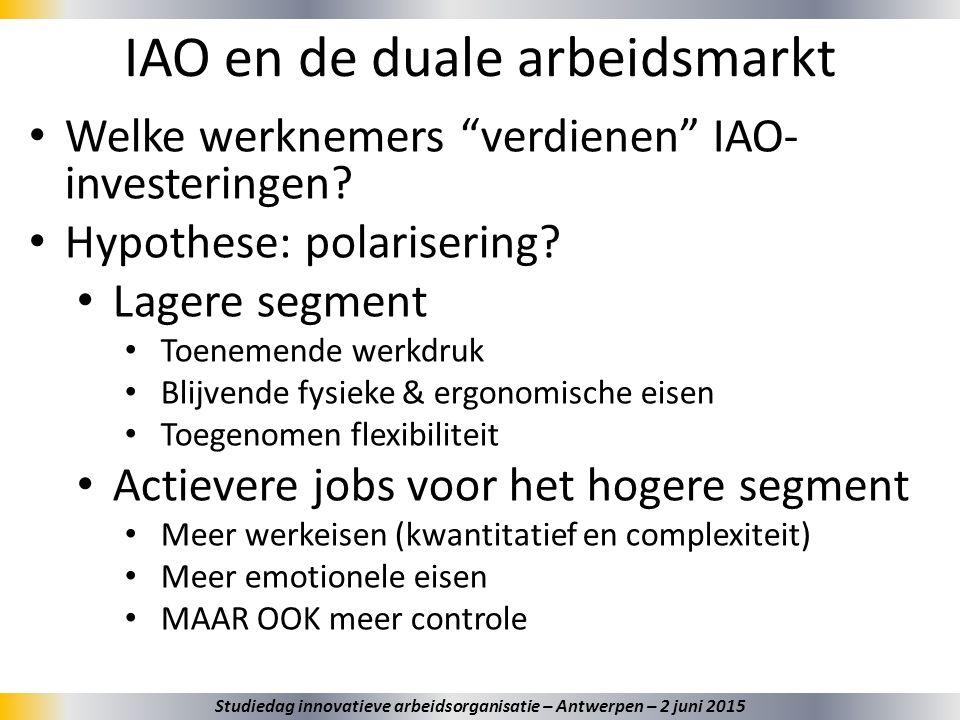 """IAO en de duale arbeidsmarkt 34 Welke werknemers """"verdienen"""" IAO- investeringen? Hypothese: polarisering? Lagere segment Toenemende werkdruk Blijvende"""