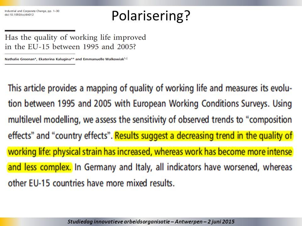 38 Polarisering? Studiedag innovatieve arbeidsorganisatie – Antwerpen – 2 juni 2015
