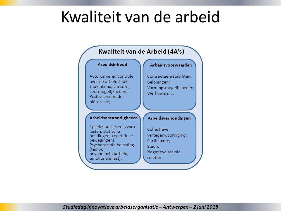Arbeidsinhoud Autonomie en controle over de arbeidstaak; Taakinhoud, variatie; Leermogelijkheden; Positie binnen de hiërarchie; … Arbeidsvoorwaarden C