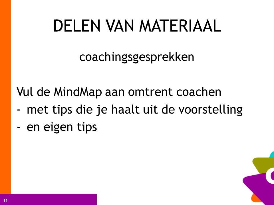 11 DELEN VAN MATERIAAL coachingsgesprekken Vul de MindMap aan omtrent coachen -met tips die je haalt uit de voorstelling -en eigen tips