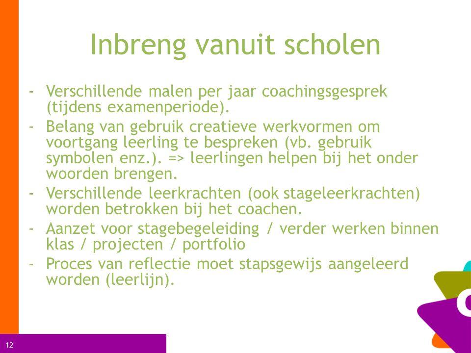 12 Inbreng vanuit scholen -Verschillende malen per jaar coachingsgesprek (tijdens examenperiode). -Belang van gebruik creatieve werkvormen om voortgan