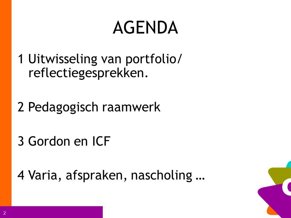 2 AGENDA 1 Uitwisseling van portfolio/ reflectiegesprekken. 2 Pedagogisch raamwerk 3 Gordon en ICF 4 Varia, afspraken, nascholing …