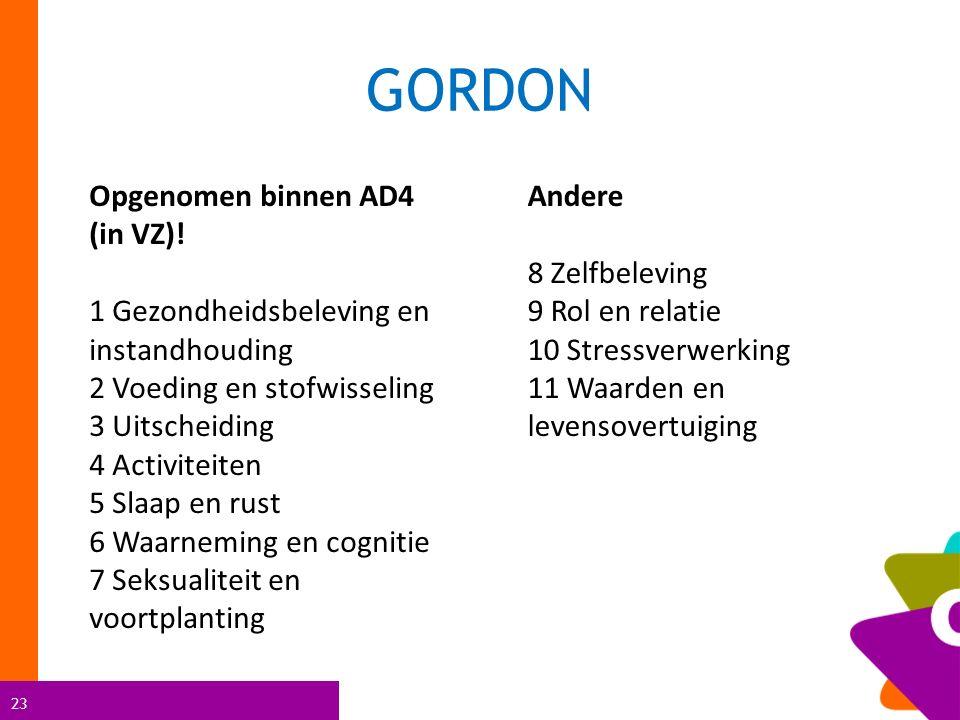 23 GORDON Opgenomen binnen AD4 (in VZ)! 1 Gezondheidsbeleving en instandhouding 2 Voeding en stofwisseling 3 Uitscheiding 4 Activiteiten 5 Slaap en ru