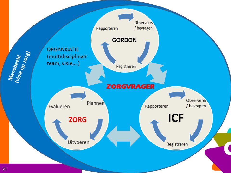 25 ORGANISATIE (multidisciplinair team, visie,…) GORDON ICF ZORGVRAGER ZORG