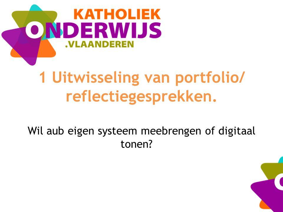 1 Uitwisseling van portfolio/ reflectiegesprekken. Wil aub eigen systeem meebrengen of digitaal tonen?