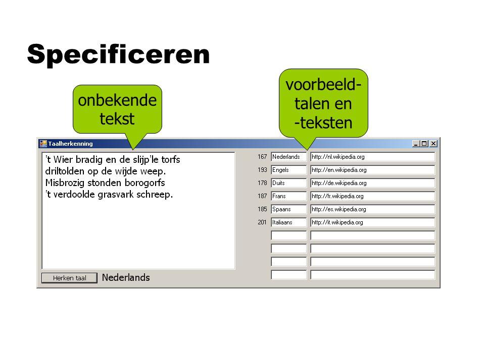 Specificeren onbekende tekst voorbeeld- talen en -teksten