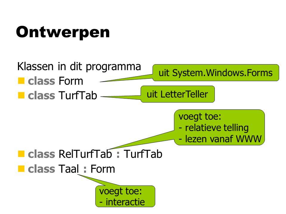 Ontwerpen Klassen in dit programma nclass Form nclass TurfTab nclass RelTurfTab : TurfTab nclass Taal : Form uit System.Windows.Forms uit LetterTeller voegt toe: - relatieve telling - lezen vanaf WWW voegt toe: - interactie