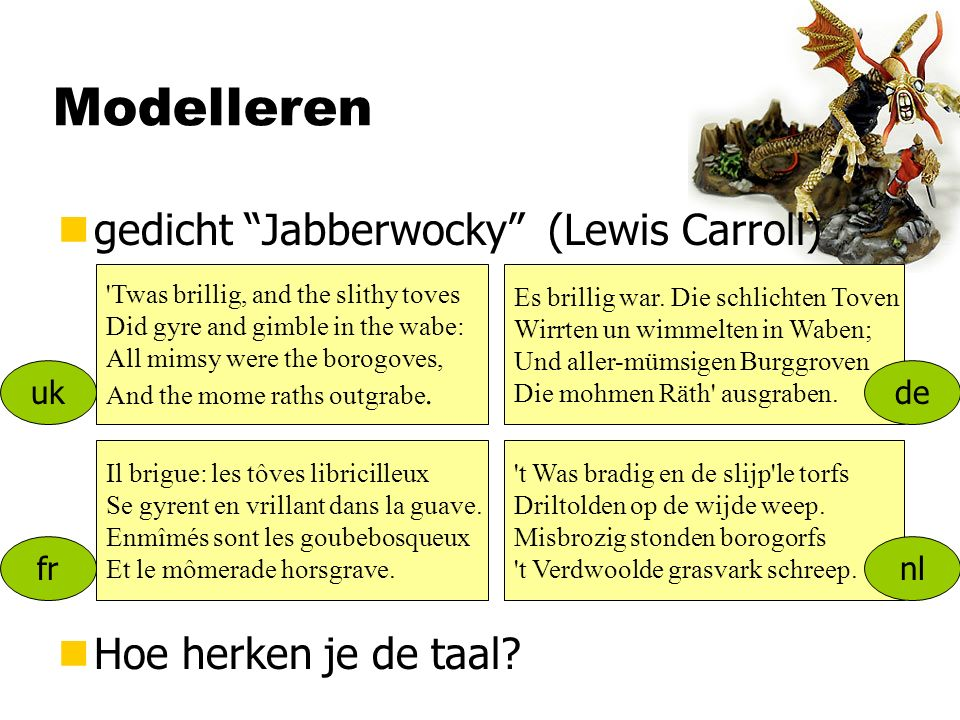 Modelleren ngedicht Jabberwocky (Lewis Carroll) Twas brillig, and the slithy toves Did gyre and gimble in the wabe: All mimsy were the borogoves, And the mome raths outgrabe.