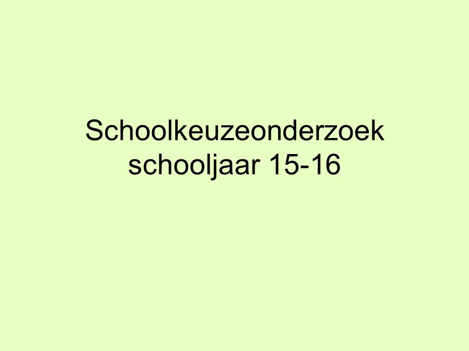 Schoolkeuzeonderzoek schooljaar 15-16