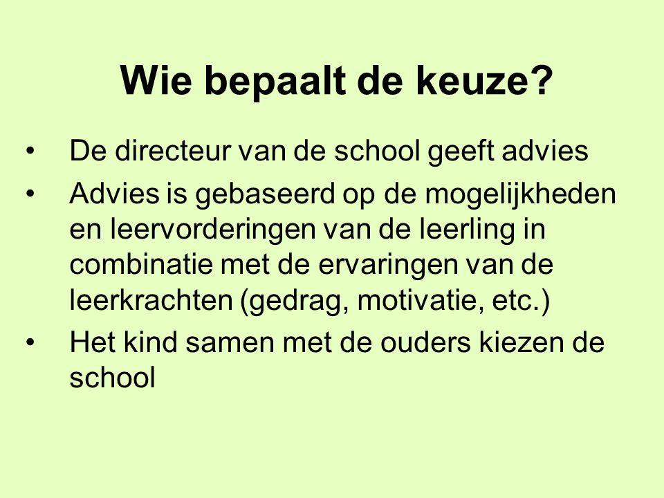 Wie bepaalt de keuze? De directeur van de school geeft advies Advies is gebaseerd op de mogelijkheden en leervorderingen van de leerling in combinatie