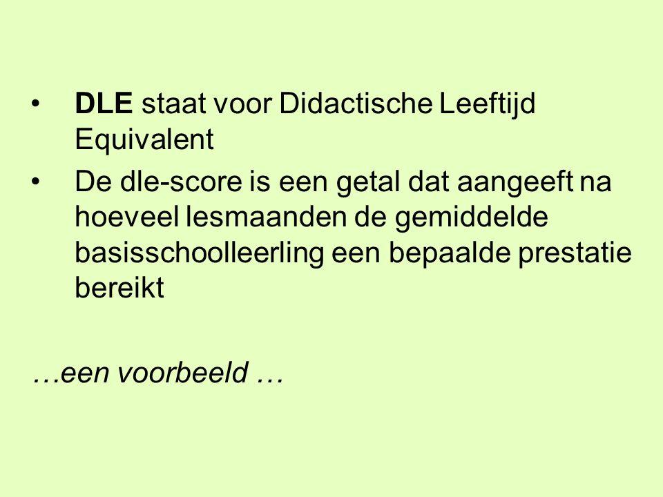 DLE staat voor Didactische Leeftijd Equivalent De dle-score is een getal dat aangeeft na hoeveel lesmaanden de gemiddelde basisschoolleerling een bepa