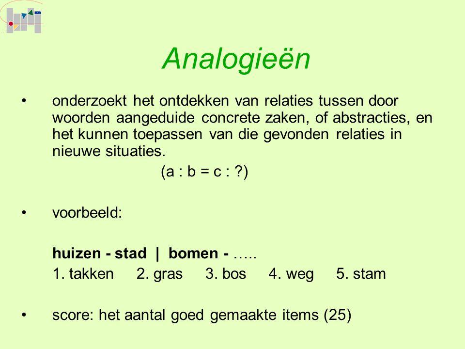 Analogieën onderzoekt het ontdekken van relaties tussen door woorden aangeduide concrete zaken, of abstracties, en het kunnen toepassen van die gevonden relaties in nieuwe situaties.