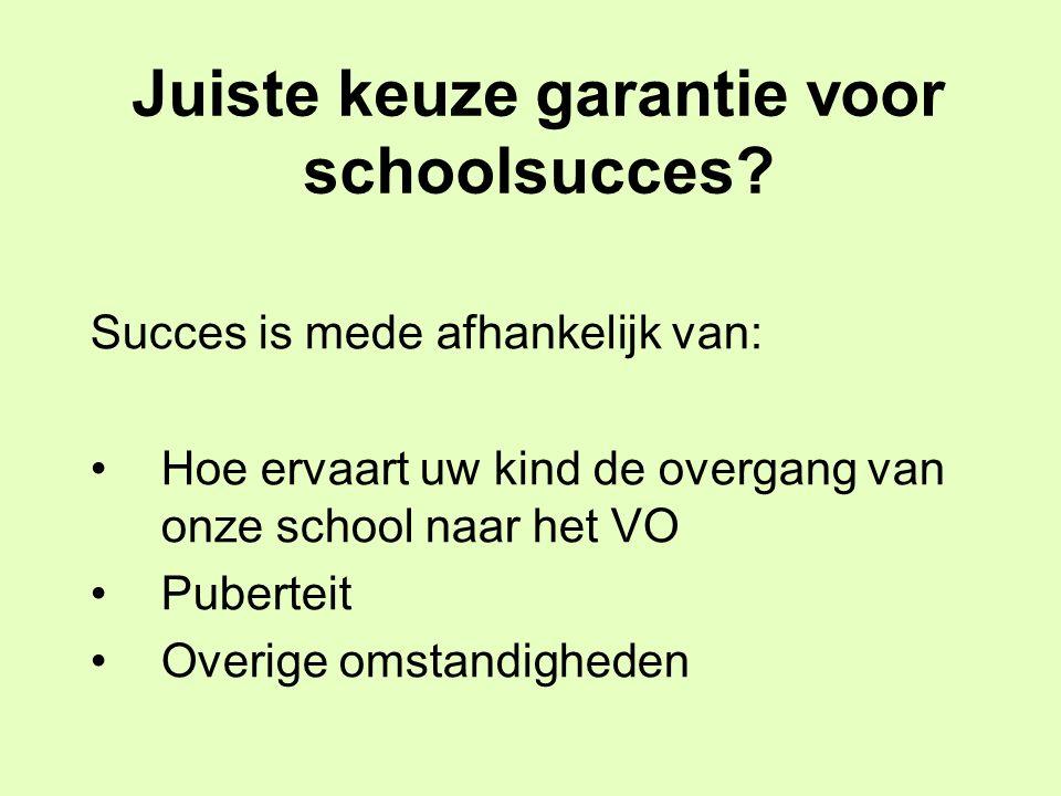 Juiste keuze garantie voor schoolsucces? Succes is mede afhankelijk van: Hoe ervaart uw kind de overgang van onze school naar het VO Puberteit Overige