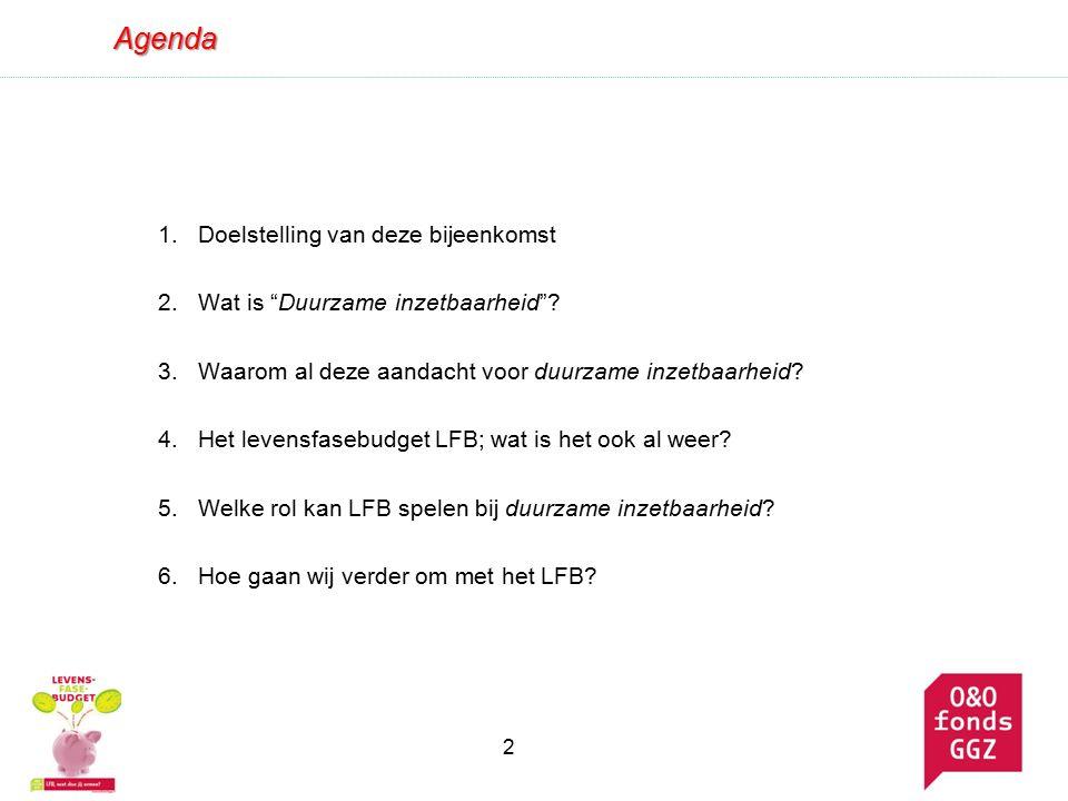 Agenda 1.Doelstelling van deze bijeenkomst 2.Wat is Duurzame inzetbaarheid .