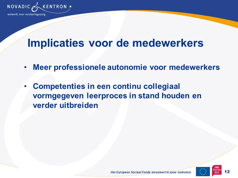 Het Europees Sociaal Fonds investeert in jouw toekomst Implicaties voor de medewerkers 12 Meer professionele autonomie voor medewerkers Competenties in een continu collegiaal vormgegeven leerproces in stand houden en verder uitbreiden