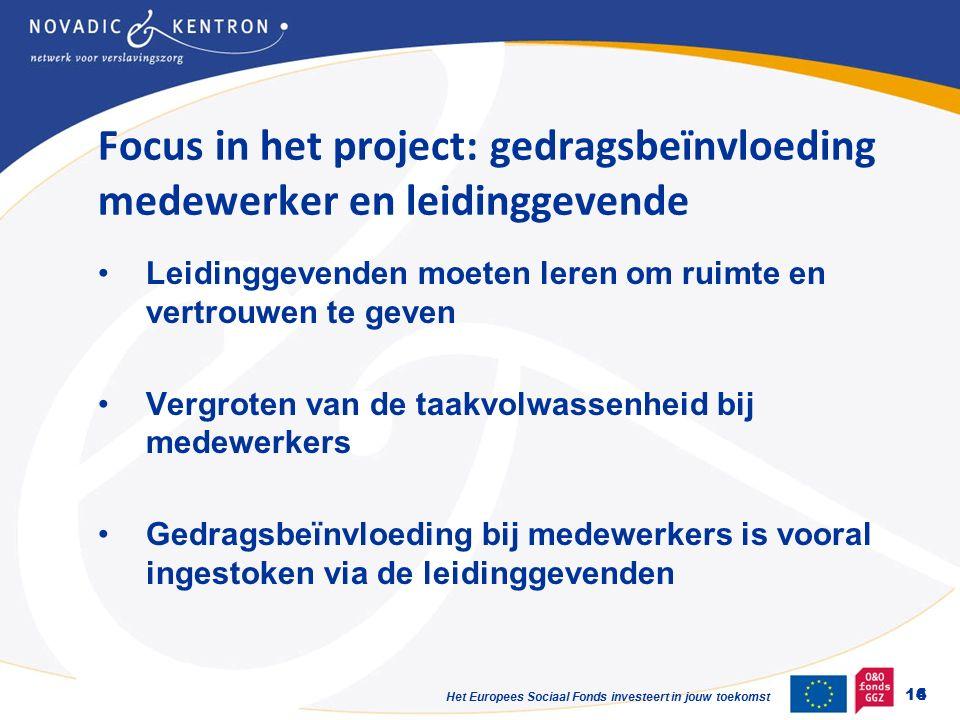 Het Europees Sociaal Fonds investeert in jouw toekomst Focus in het project: gedragsbeïnvloeding medewerker en leidinggevende Leidinggevenden moeten leren om ruimte en vertrouwen te geven Vergroten van de taakvolwassenheid bij medewerkers Gedragsbeïnvloeding bij medewerkers is vooral ingestoken via de leidinggevenden 6 14