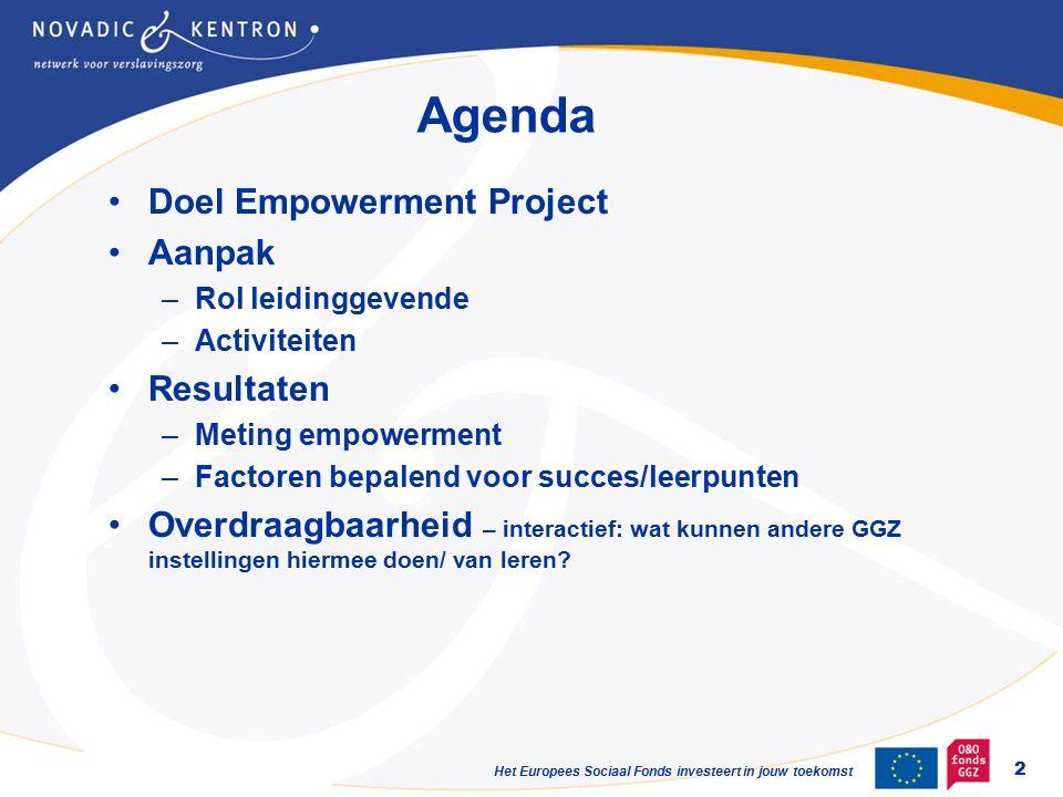 Agenda Doel Empowerment Project Aanpak –Rol leidinggevende –Activiteiten Resultaten –Meting empowerment –Factoren bepalend voor succes/leerpunten Overdraagbaarheid – interactief: wat kunnen andere GGZ instellingen hiermee doen/ van leren.